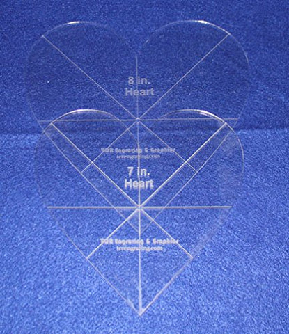 "Heart Template 2 Piece Set. 7"",8"" - Clear 1/8"" Thick w/ guidelines"