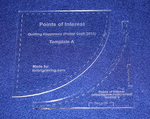 "2 Piece ""Points of Interest"" Template Set. Clear 1/8"" Thick Acrylic"