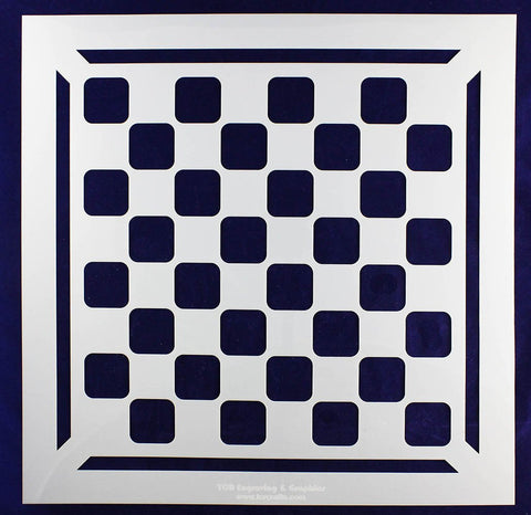 "Chess/Checkerboard Stencil w/Border 14 Mil -15"" X 15"" - Painting /Crafts/ Templates"