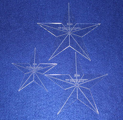 "Star Quilt Templates. 4"",5"",6"" - Clear 1/8"" Thick Acrylic"