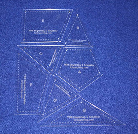 "7 Piece Veterans Quilt Laser Cut Templates - 1/8"" Acrylic-clear - W/guidelines"