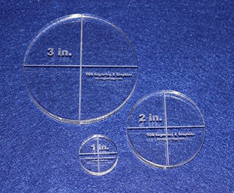"Circle Template 3 Piece Set.1"",2"",3"" - Clear 3/8"" Thick"
