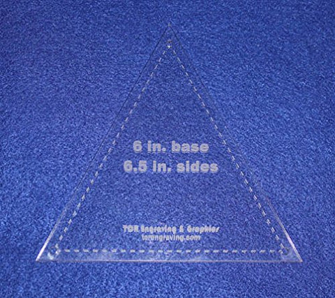 "Quilt Template Triangle 6"" Tall X 6.5"" Sides- Actual Size-1/8"" Thick With Guideline Holes"