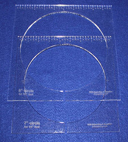 "2 Piece Inside Circle Set 7"" & 8"" W/rulers ~1/4"" Thick - Long Arm- For 1/4"" Foot - Template"