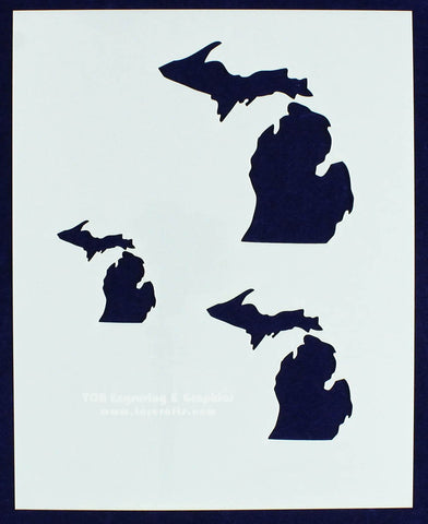"State of Michigan 8x10 Stencil (2"", 3"", 4"") 14 Mil Mylar - Painting /Crafts/ Templates"