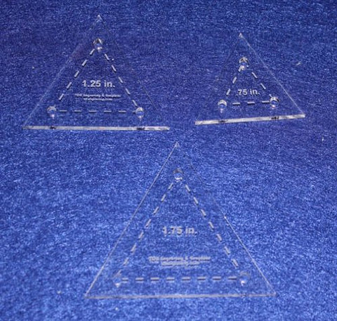 Quilt Templates- 3 Piece Set Half Sizes .75, 1.25, 1.75- Equilateral Triangles Acrylic 1/8""