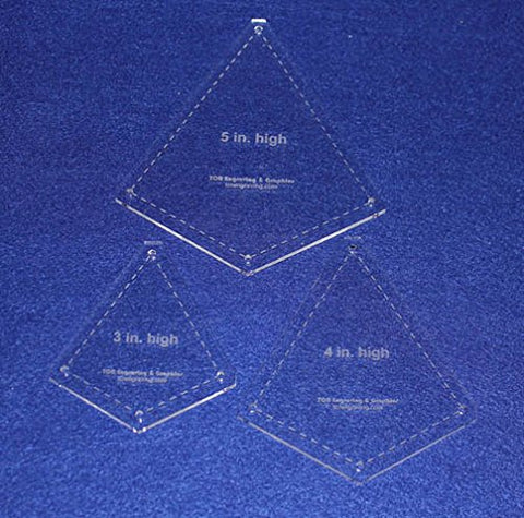 "Quilting Template -3 Piece ""Kite"" Shape Set - 1/8"" Clear Acrylic"