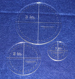 "Circle Template 3 Piece Set.1"",2"",3"" w/seam- Clear 1/4"" Thick"