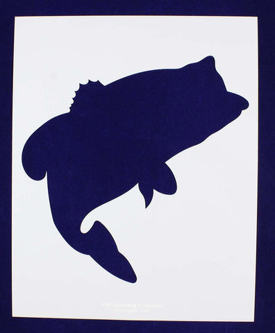 Large Bass Jumping (fish) Stencils -1 pc-Mylar 14mil - Painting /Crafts/ Templates