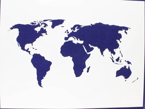 "Map of the World Stencil 14 Mil 18"" X 24"" Painting /Crafts/ Templates"