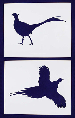 Large Pheasant Stencils -2 pc set-Mylar 14mil - Painting /Crafts/ Templates