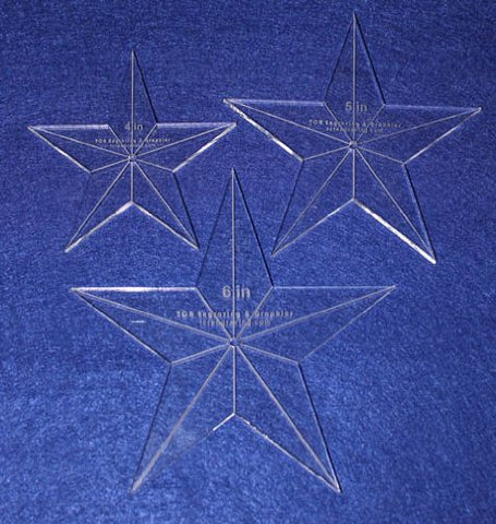 "Star Template 3 Piece Set. 4"",5"",6"" - Clear 1/4"" Thick w/ Guidelines & Center Hole"
