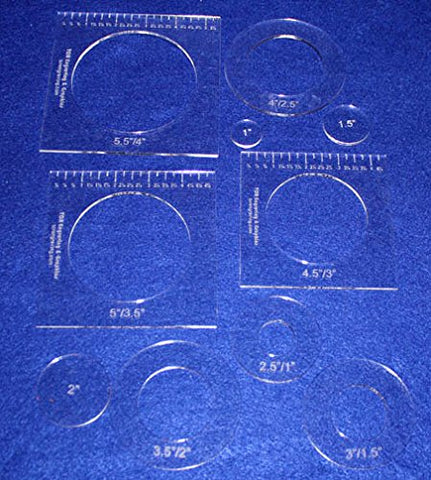 "10 Piece Nested Penny Rug Template Set 1/8"" Acrylic"