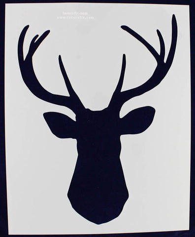 "Buck-Deer Head Stencil F-Xlg-Mylar 14 Mil 15.6""W X 19.50H - Painting /Crafts/ Templates"
