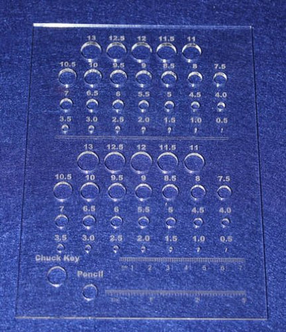 Laser Cut Drill Bit Storage Acrylic Template -Metric Small Sizes 1/8""