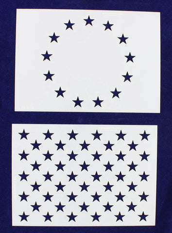 "13 & 50 Star Field Stencils-2 Piece Set 14 Mil-G-Spec -9.88""L - Painting /Crafts/ Templates"