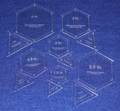 12 Piece Quilt Templates Equilateral Triangles & Hexagon Set 1/8""