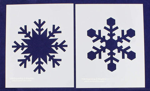 "Large Snowflake B-2 Piece Stencil Set 14 Mil 8"" X 10"" Painting /Crafts/ Templates"