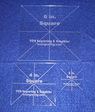 "3 Pc Square Set 2,4,6 - 1/8"" Clear Acrylic - Quilting Templates- No seam"