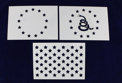Don't Tread on Me (Gadsen Flag)/Revolutionary War 3 PC Stencil Set Painting/CraftsTemplate