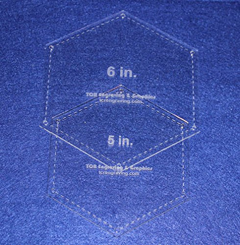 "Hexagon Templates. 5"", 6"" - Clear W/guide Line Holes 1/8"""