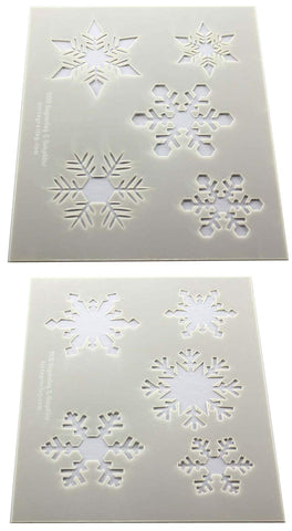 "Snowflake Stencils -Mylar 2 Pieces of 14 Mil 8"" X 10"" - Painting /Crafts/ Templates"