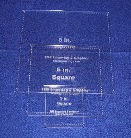 "3 Piece Square w/Seam Quilting Templates Set -3"",6"", 8"" Clear Acrylic 1/8"""