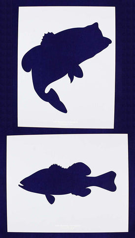Large Bass (fish) Stencils -2 pc set-Mylar 14mil - Painting /Crafts/ Templates