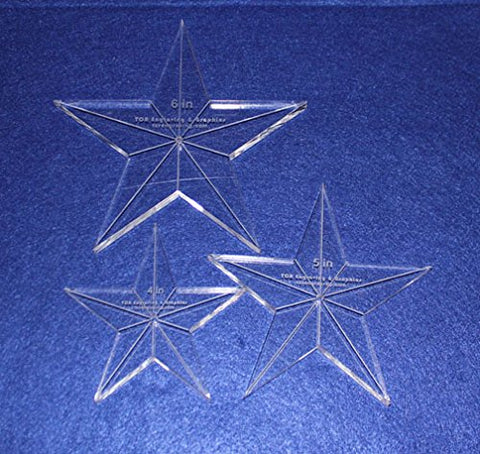 "Star Template 3 Piece Set. 4"",5"",6"" - Clear 3/8"" Thick w/ Guidelines & Center Hole"