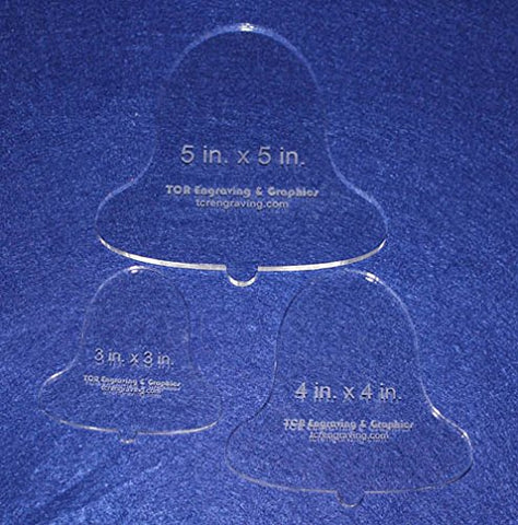 "3 Piece Holiday Bell Quilting Template Set 1/4"" Thick - Acrylic - Long Arm / Hand"