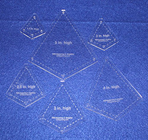 "6 Piece ""Kite"" Shape Set - 1/8"" Clear Acrylic Quilting Template -"