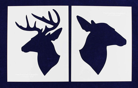 "Buck-Doe Deer Head Stencils - Mylar 2 Pieces of 14 Mil 8"" X 10"" - Painting /Crafts/ Templates"