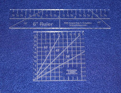 "2 Piece Ruler Set. 3"" Square & 6"" Long -Acrylic 1/8"" thick. Quilting/Sewing"