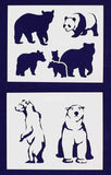 Bear Stencils -2 pc set-Mylar 14mil - Painting /Crafts/ Templates