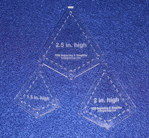 "3 Piece Small ""Kite"" Shape Set - 1/8"" Clear Acrylic Quilting Template -"