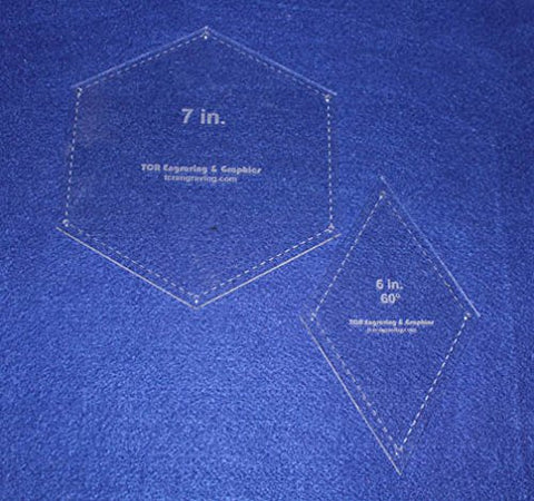 "Hexagon/Diamond Set - 2 Piece Specialty- -1/8""-Quilt Templates-"