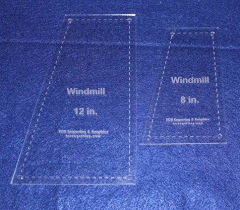 "Windmill 2 piece set Quilting Templates- For 8"" & 12"" Squares- Clear 1/8"""
