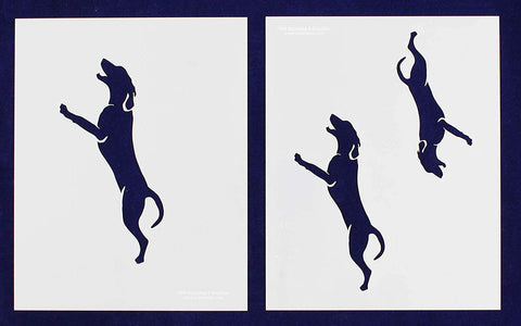 "Blue Tic Hound Dog Stencils- 5"", 6"", 7"" -Mylar 2 Pieces of 14 Mil 8"" X 10"" - Painting /Crafts/ Templates"