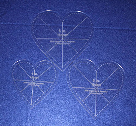 "Heart Template 3 Piece Set. 4"",5"",6"" - 1/8""-with seam allowance, guidelines"