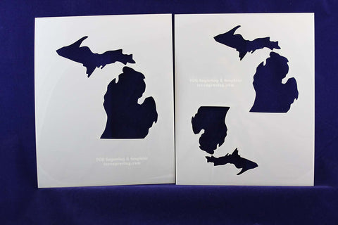 "State of Michigan 2 pc Stencil Set-Mylar 14 Mil 4"",5', 6"" - Painting /Crafts/ Templates"