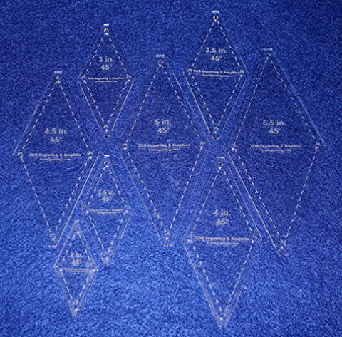 "Diamond Templates 8 Pc Set No Tips 2"" - 5 1/2""- Clear 1/8"" 45 Degree"