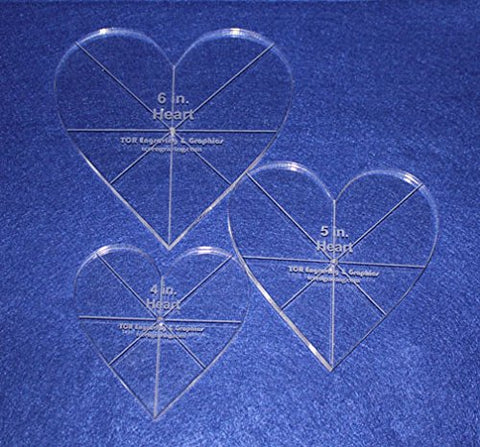 "Heart Template 3 Piece Set. 4"",5"",6"" - Clear 3/8"" Thick w/ guidelines"