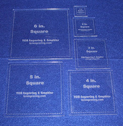 "Square Templates. 1"", 2"", 3"", 4"", 5"", 6"" - w/seam Clear 1/8"""