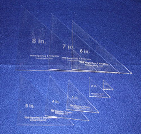 "8 Triangle Templates. 1"", 2"" 3"", 4"", 5"", 6"", 7"", 8"" No Seam - Clear 1/8"""