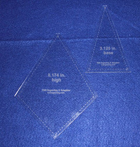 "2 Piece ""Fan or Kite"" Shape Set - Quilting Template -1/8"" Clear Acrylic"