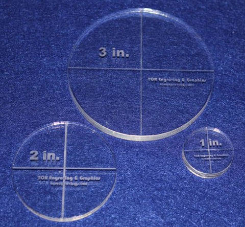 "Circle Template 3 Piece Set.1"",2"",3"" - Clear 1/4"" Thick"