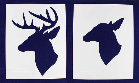 Buck-Doe Deer Head Stencils S-Mylar 2 Piece-14 Mil Large - Painting /Crafts/ Templates