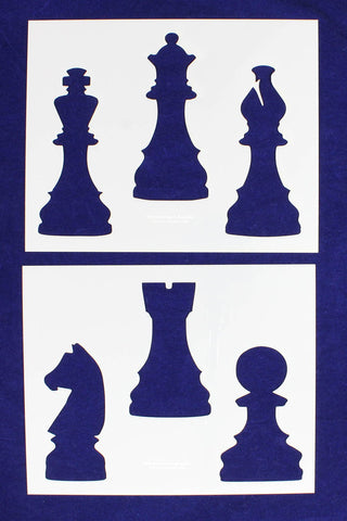 "Chess Pieces-2 Piece Stencil Set 14 Mil 8"" X 10"" Painting /Crafts/ Templates"