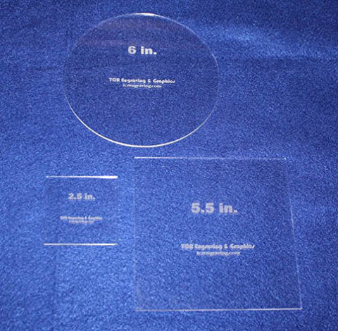 "3 Piece Quilting Template Set 2.5"" Square, 5.5"" Square, 6"" Circle- Clear 1/8"""