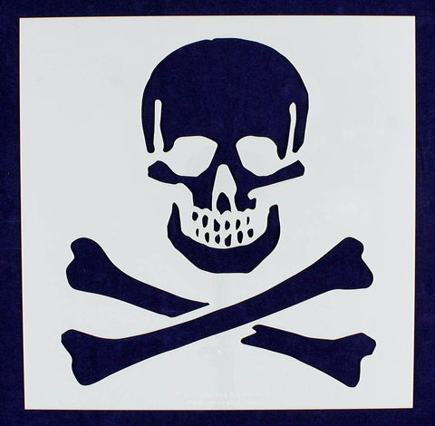 "Large Skull & Bones Stencil 14 Mil 12"" x 12"" Painting /Crafts/ Templates"